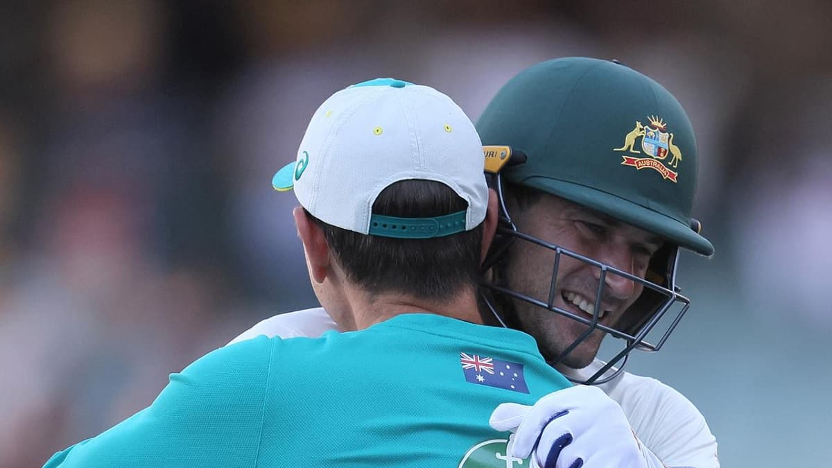 image for cricket justin langer hugs joe burns