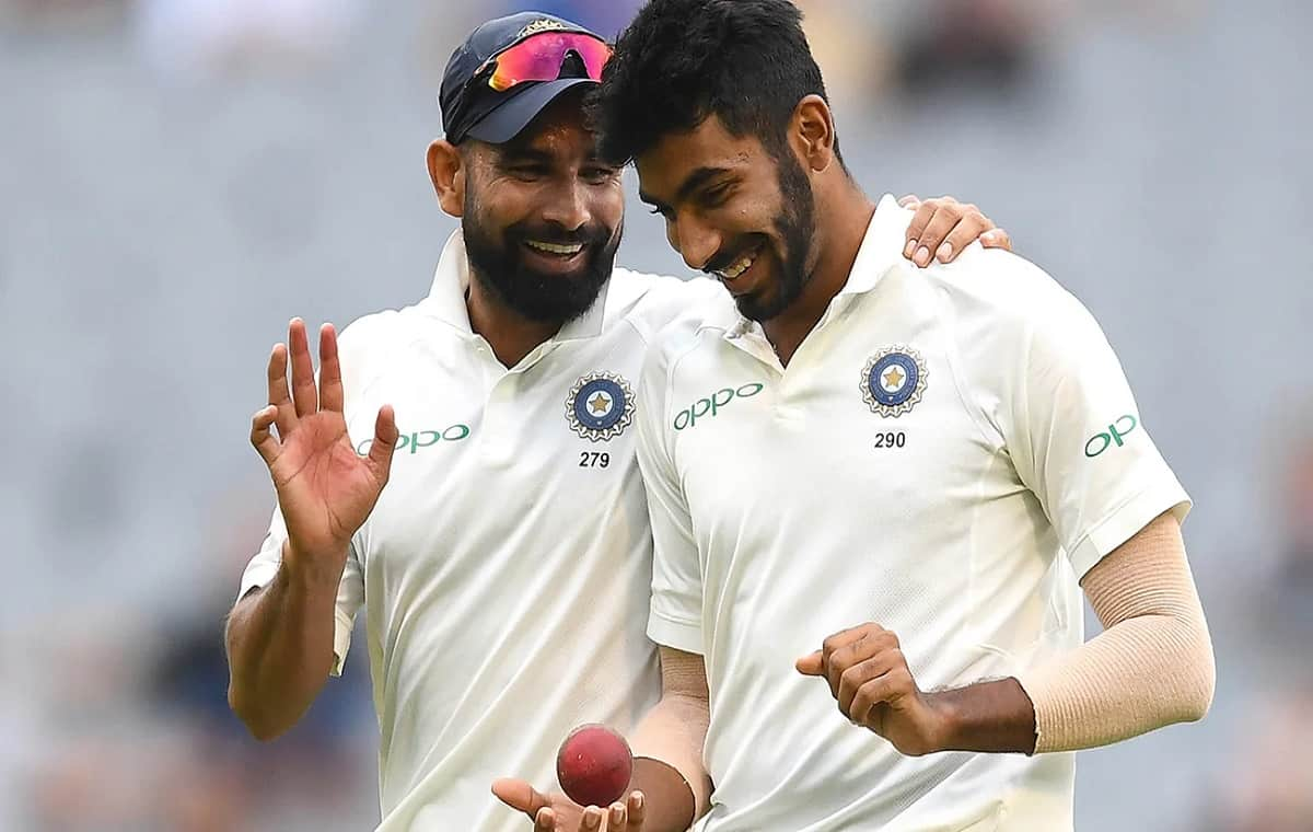 Image of Indian Cricketer Jasprit Bumrah and Mohammed Shami