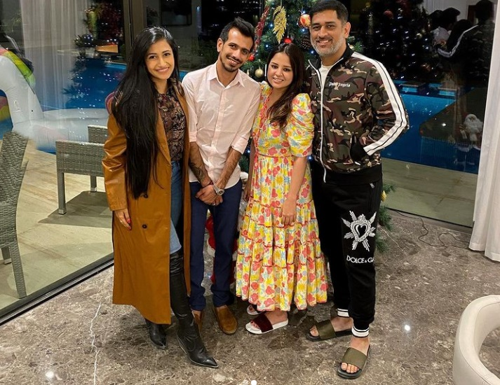 ms dhoni And his wife sakshi Congratulates Yajuvendra Chahal And dhanashree verma watch pics
