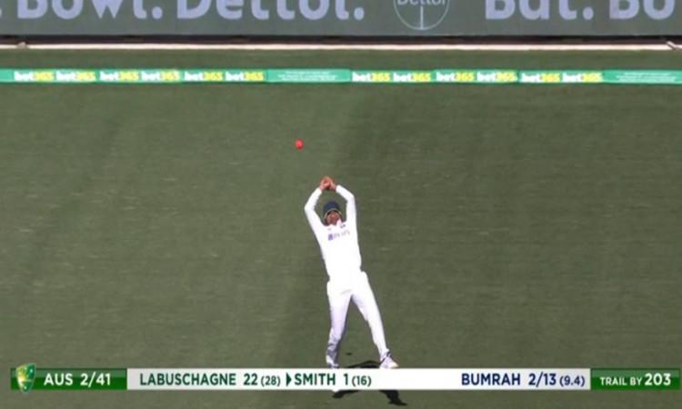 India vs Australia  Prithvi Shaw drops marnus labuschagne catch watch video