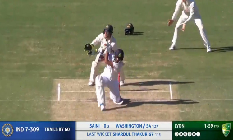 washington sundar no look six on nathan lyon bowling watch video