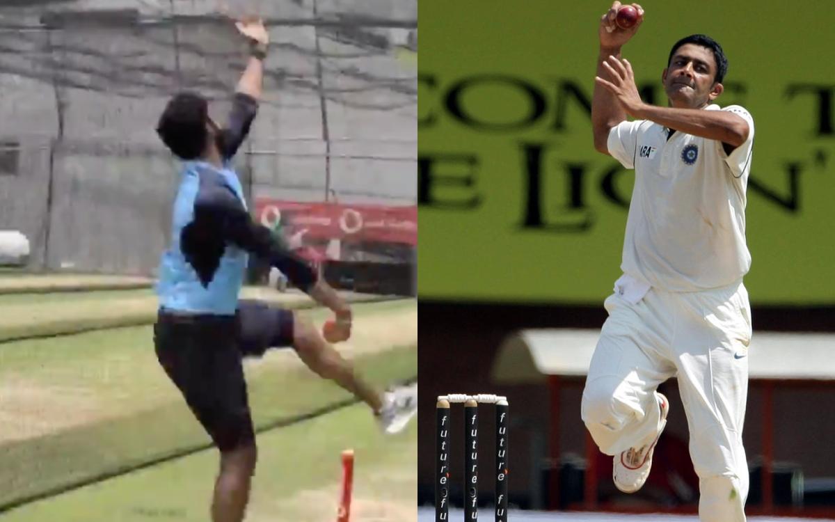 Cricket Image for VIDEO: बुमराह ने नैट प्रैक्टिस के दौरान की अनिल कुंबले की नकल, 'जंबो' ने भी कुछ इस