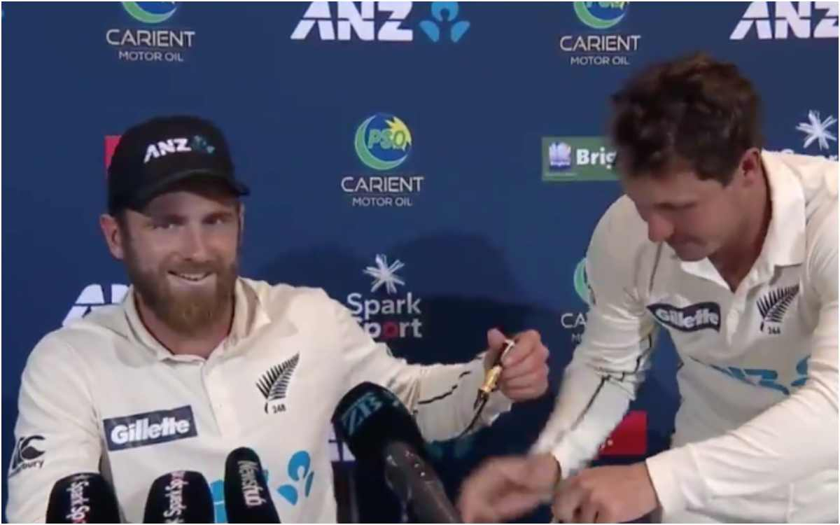 bj watling disturbed new zealand captain kane williamson during press conference video