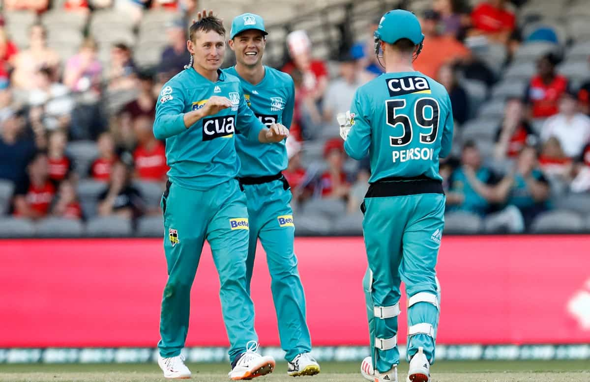 Cricket Image for Labuschagne Strikers With The Ball As Brisbane Heat Restricts Adelaide Strikers On
