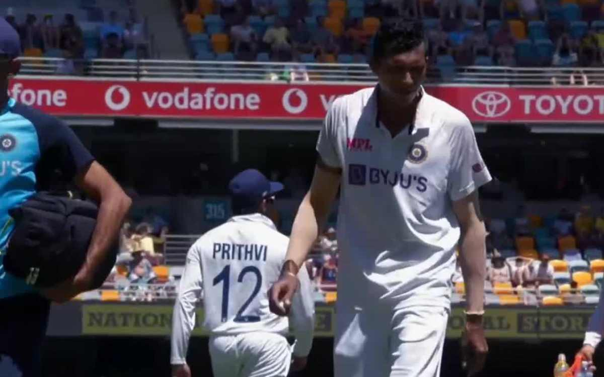 navdeep saini injured during bowling because of groin stretched against australia brisbane test