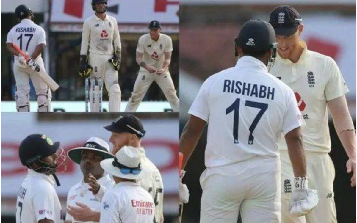 Cricket Image for Rishabh Pant Arguement With England Player