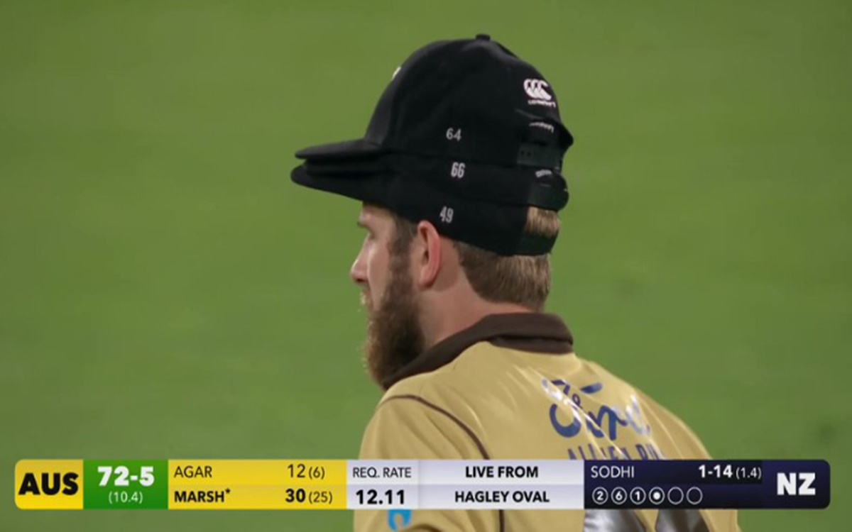 Cricket Image for Kane Williamson Wearing More Than One Cap During New Zealand Vs Australia T20 Matc