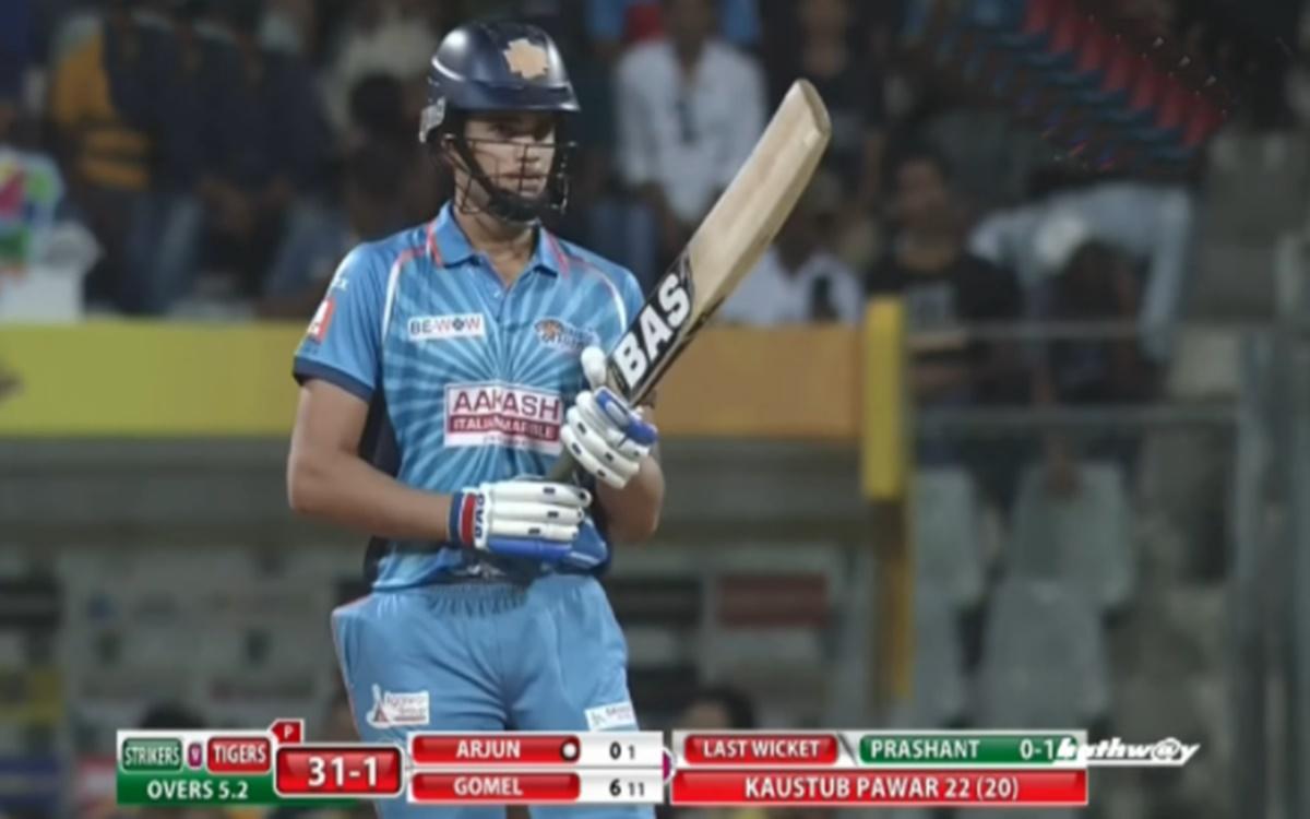Cricket Image for Sachin Tendulkar Son Arjun Scored 77 Runs From Just 31 Balls