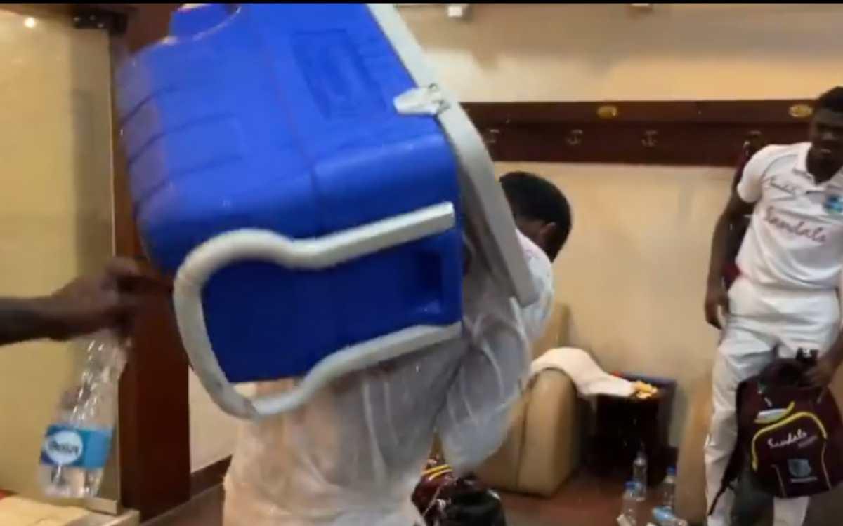 Cricket Image for VIDEO : 'ऐसे कौन जश्न मनाता है भाई', कैरेबियाई टीम ने ड्रेसिंग रूम में अपने कप्तान