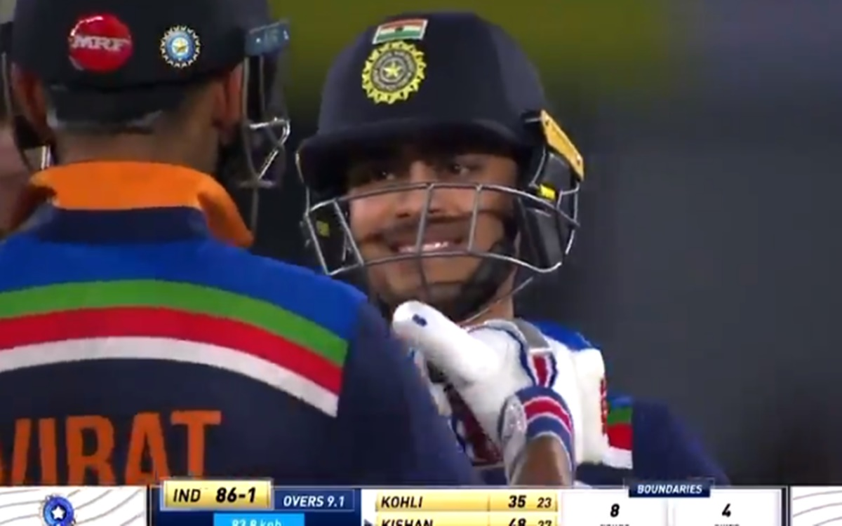 Cricket Image for Ishan Kishan Score Fifty With Six Watch Virat Kohli Reaction
