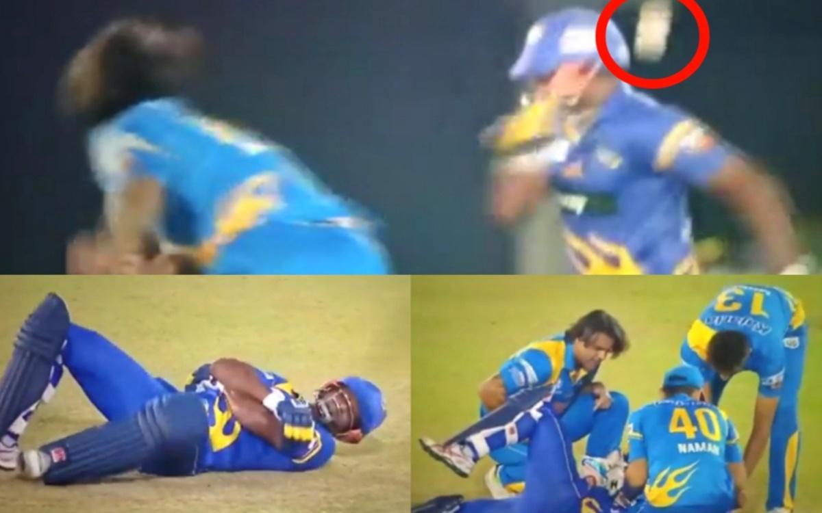 Cricket Image for VIDEO: बाल-बाल बचा श्रीलंका लीजेंड्स का बल्लेबाज, गोनी के थ्रो से घायल होकर दर्द स
