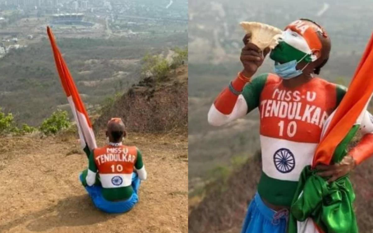 Cricket Image for Sachin Tendulkar Fan Sudhir Kumar Watches India Vs England Match From Hills Near S