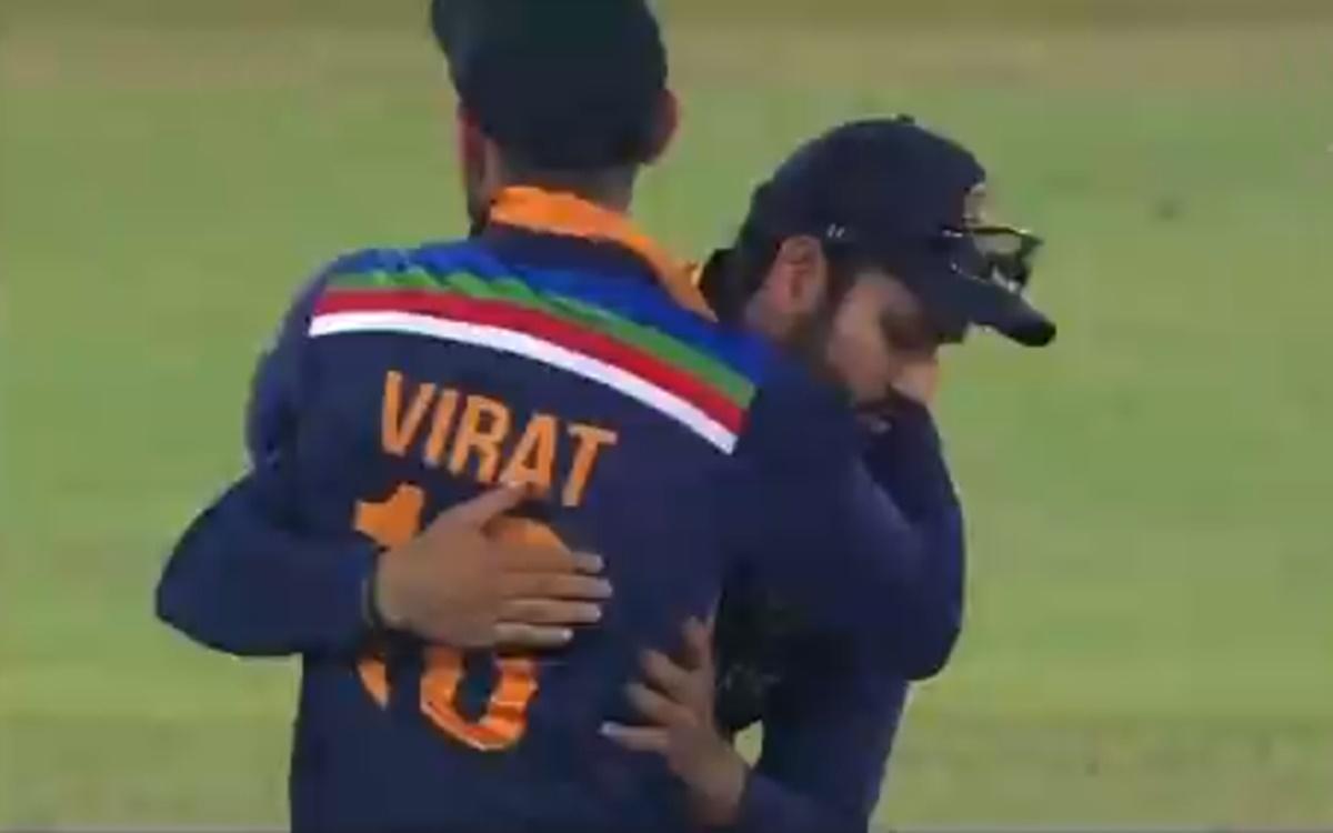 Cricket Image for Virat Kohli Hugs Rohit Sharma
