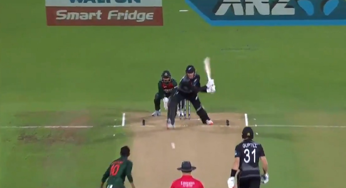 Cricket Image for Video: Finn Allen Begins His International Career With A Reverse Sweep Before Hitt