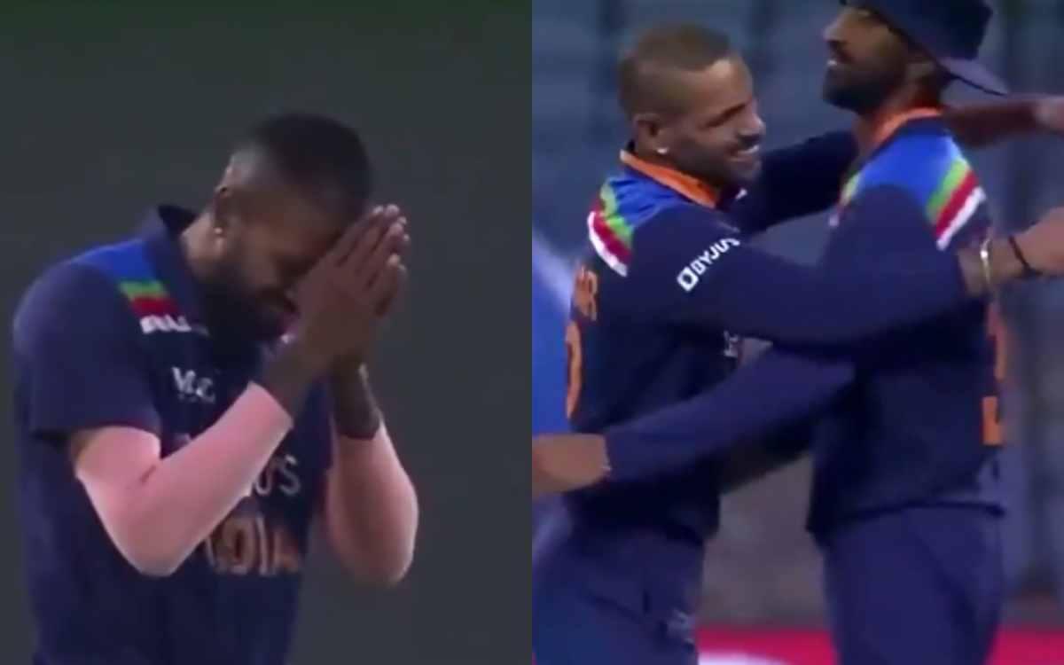 Cricket Image for VIDEO : जब शिखर धवन ने पकड़ा बेन स्टोक्स का कैच, तो हार्दिक पांड्या ने जोड़ लिए 'ग