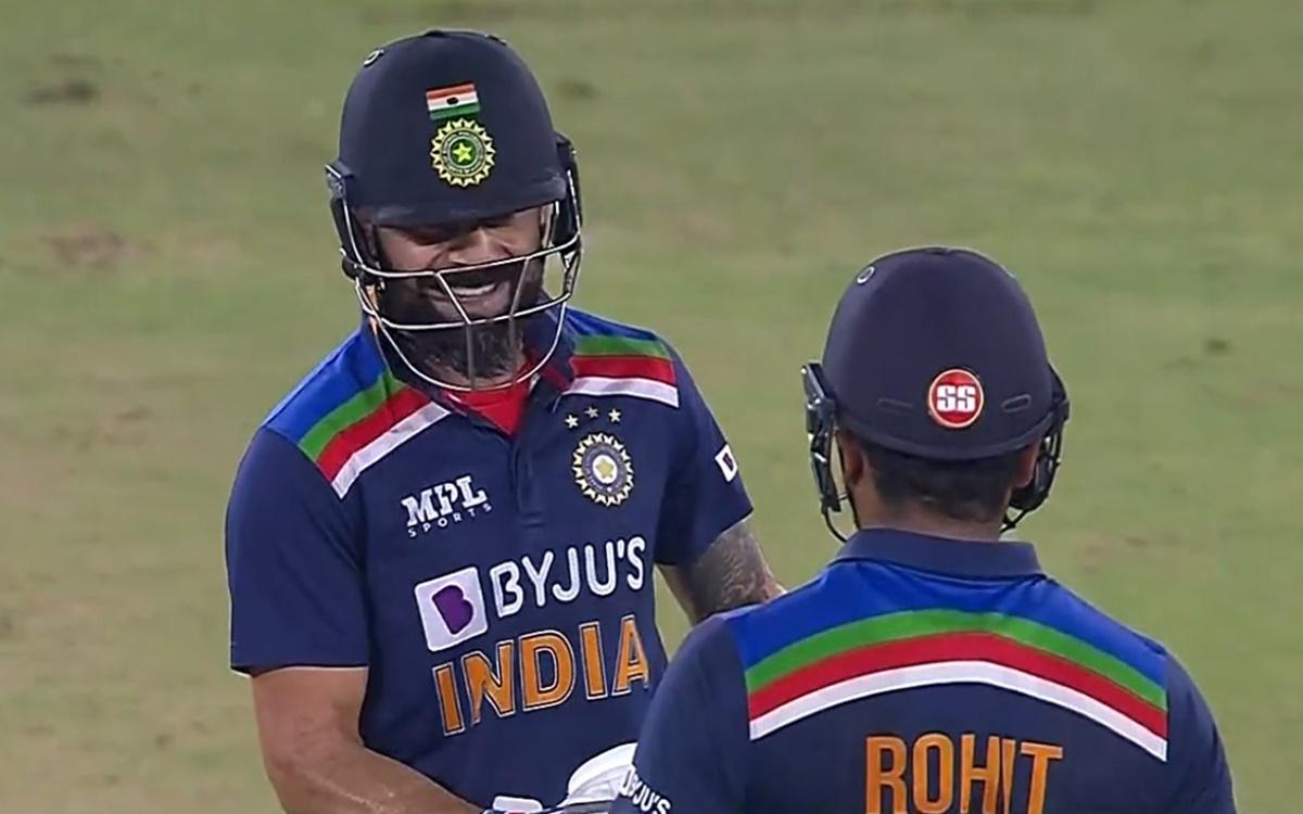 Cricket Image for  Virat Kohli Enjoyed Six From Rohit Sharma