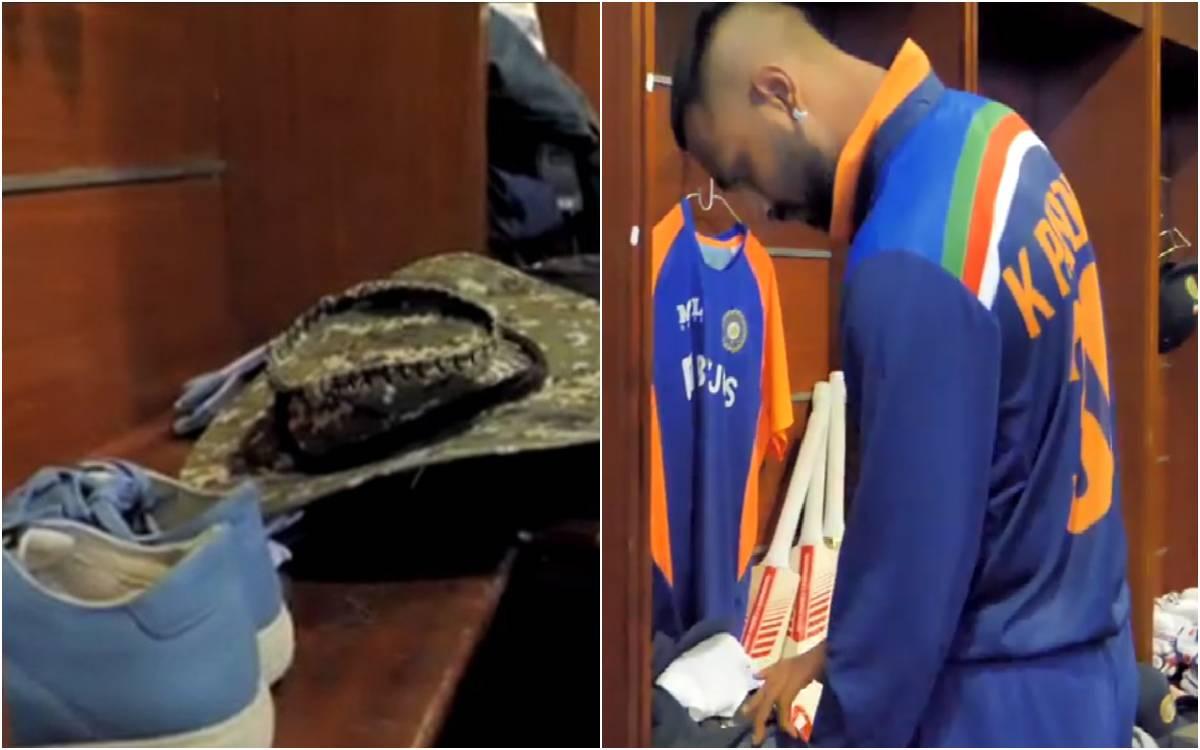 Cricket Image for VIDEO : ड्रेसिंग रूम में पापा की टोपी, जूते और कपड़े लेकर पहुंचे क्रुणाल पांड्या,