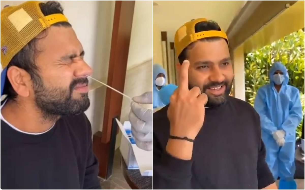 Cricket Image for VIDEO : कोविड टेस्ट के बाद रोहित शर्मा ने दिखाई ऋषभ पंत को 'Middle Finger', सोशल म
