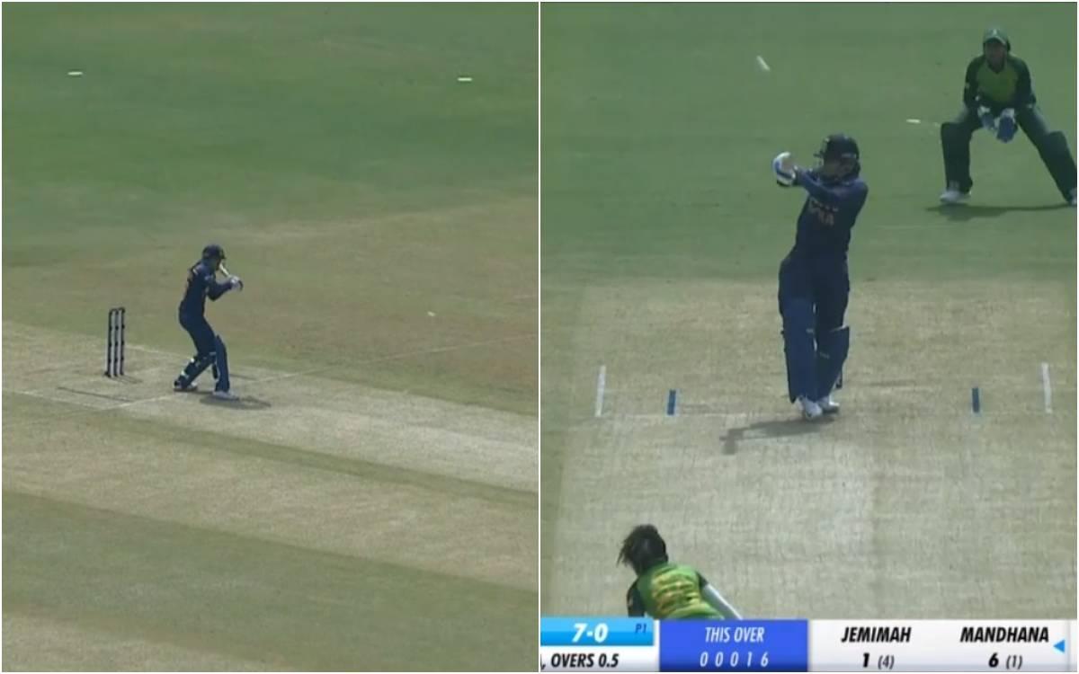 Cricket Image for VIDEO : स्मृति मंधाना में आई सहवाग की आत्मा, पहले ओवर में ही जड़ दिए लगातार दो छक्