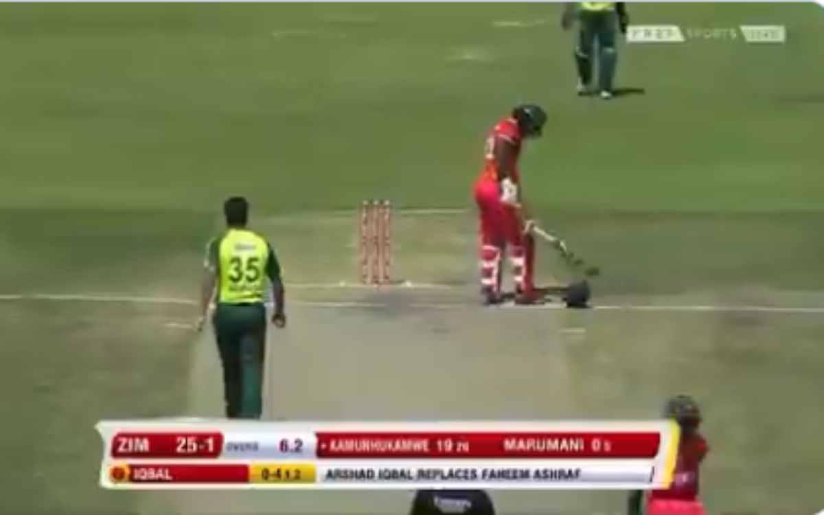 Cricket Image for VIDEO : 20 साल के पाकिस्तानी गेंदबाज़ ने बरपाया कहर, तेज़ बाउंसर से हेल्मेट के किए