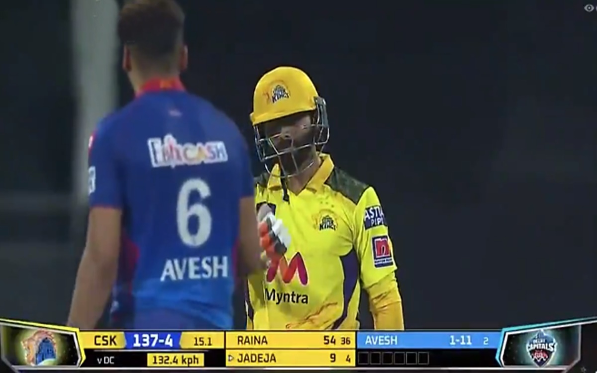 Cricket Image for Csk Vs Dc Ravindra Jadeja Blaming Avesh Khan For Mix Up With Suresh Raina