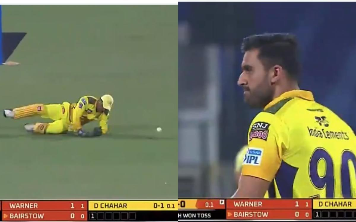 Cricket Image for Deepak Chahar Reaction When Ms Dhoni Drop Jonny Bairstow Catch