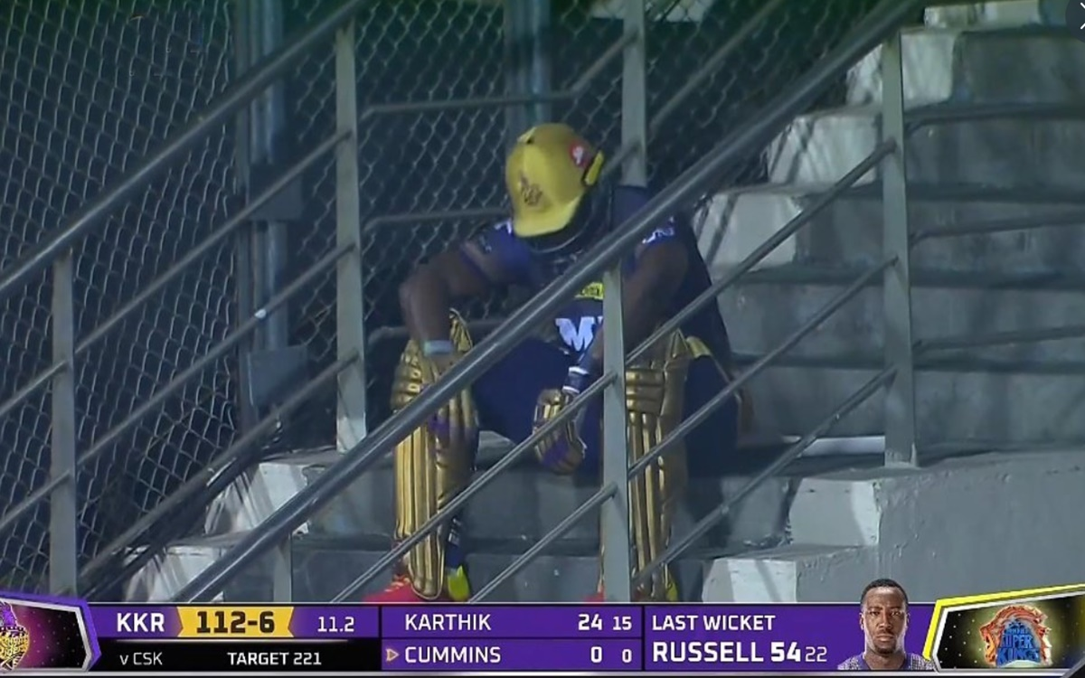 Cricket Image for Ipl 2021 Andre Russell Sad After He Clean Bowled By Sam Curran Watch Video