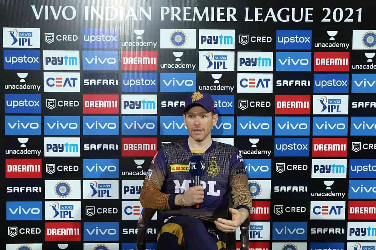 IPL 2021 Eoin Morgan praise Nitish Rana and Rahul Tripathi for outstanding performance against SRH