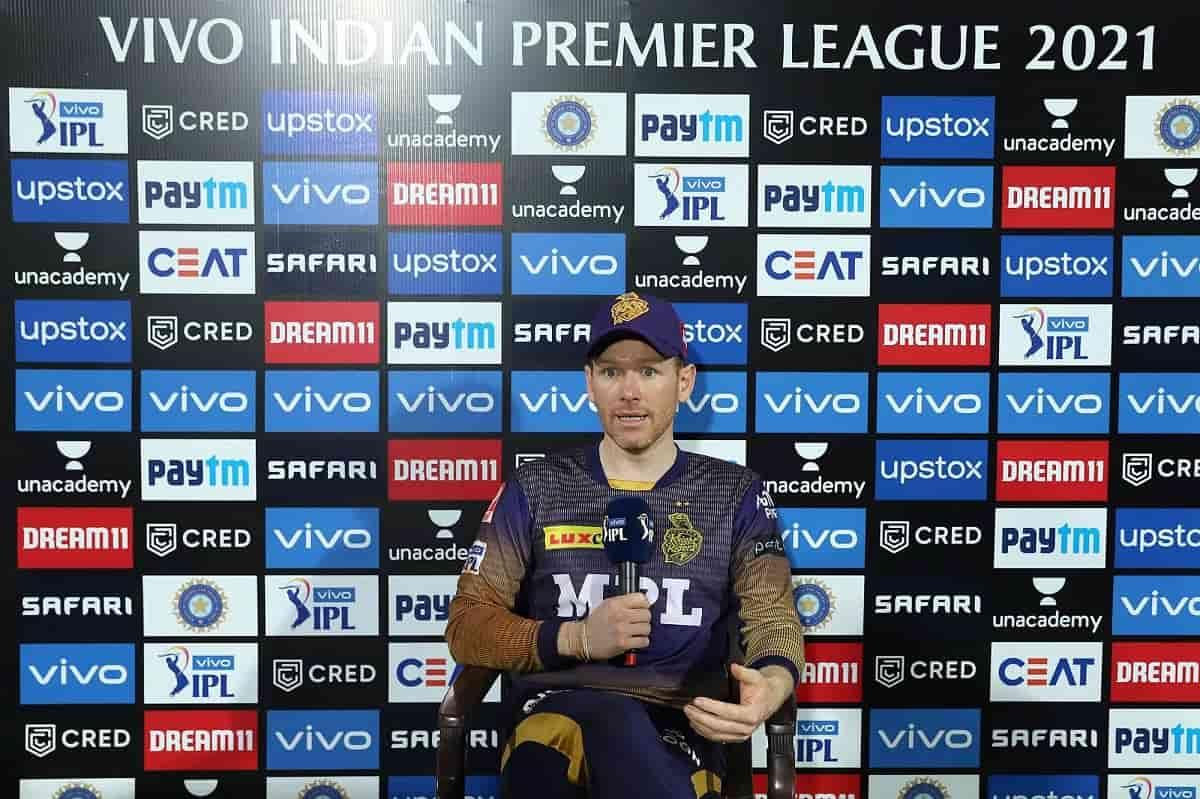 IPL 2021 Eoin Morgan praise Nitish Rana and Rahul Tripathi for outstanding performance against SRH
