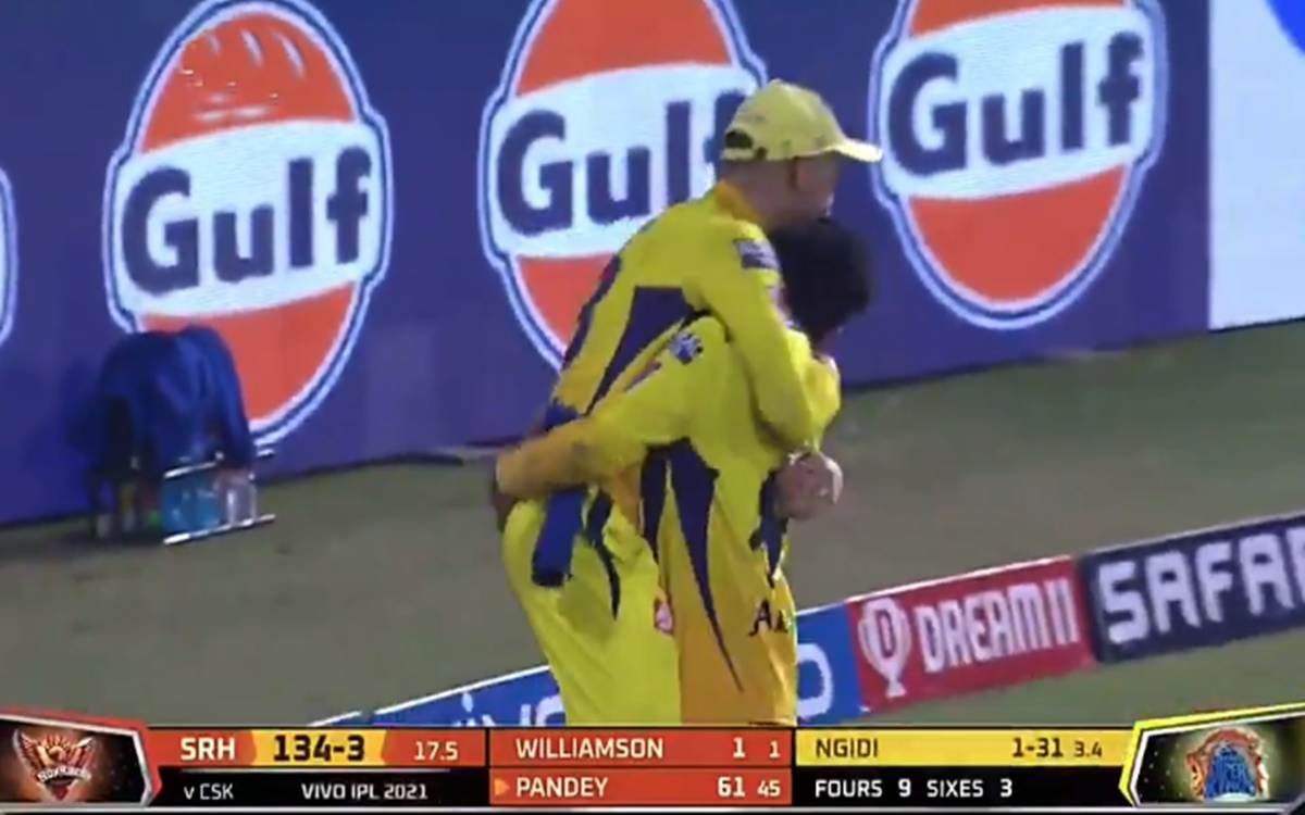 Cricket Image for Ipl 2021 Ravindra Jadeja Reaction On Faf Du Plessis Brilliant Catch To Dismiss Man