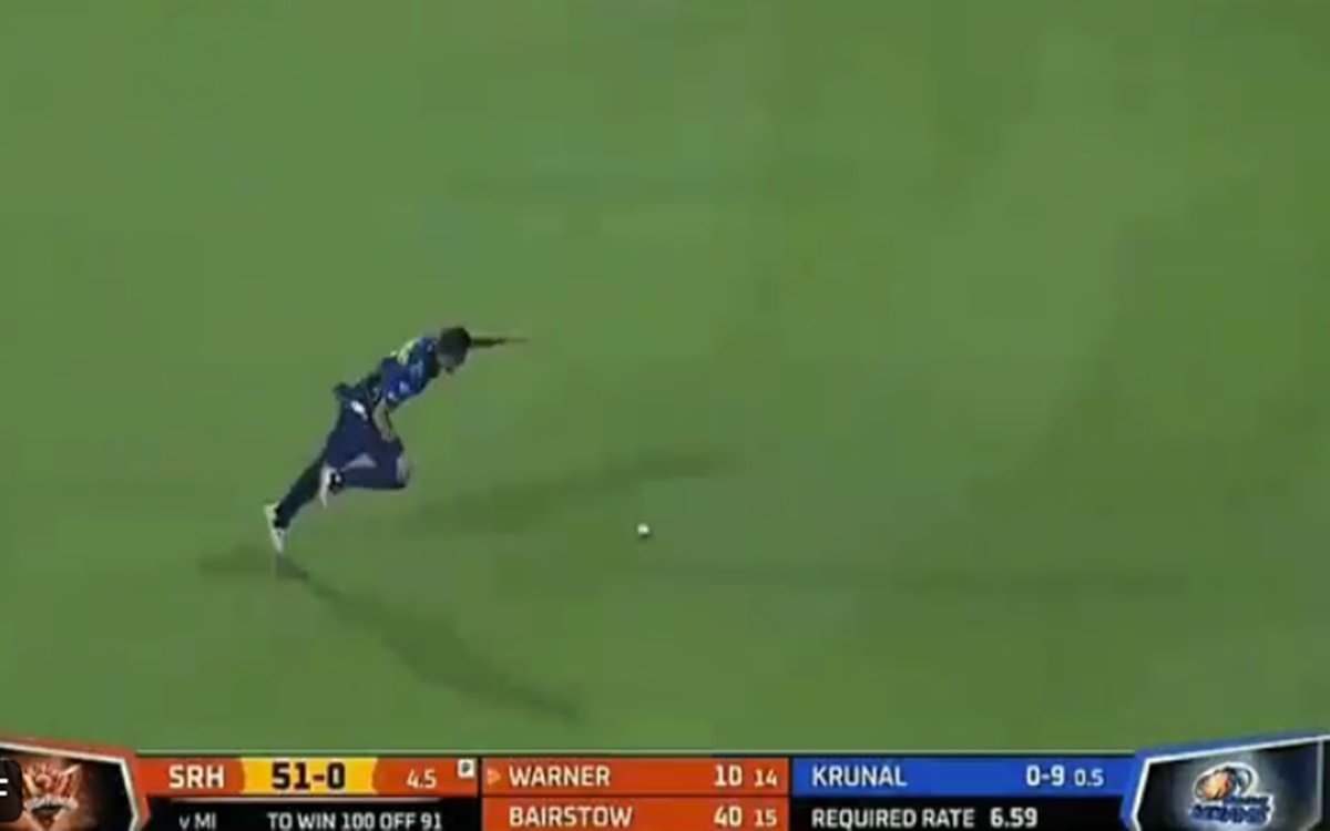 Cricket Image for Srh Vs Mi Trent Boult Unbalanced During Fielding Watch Video