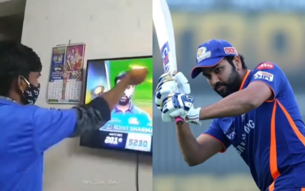 Cricket Image for Ipl 2021 A Young Boy Worships Mumbai Indians Captain Rohit Sharma Watch Video