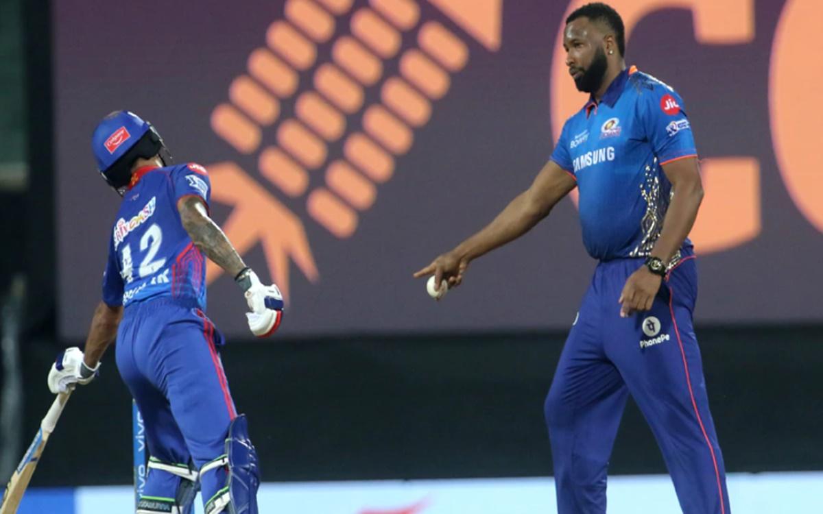 Cricket Image for Ipl 2021 Kieron Pollard Tries To Mankading Shikhar Dhawan Watch Video