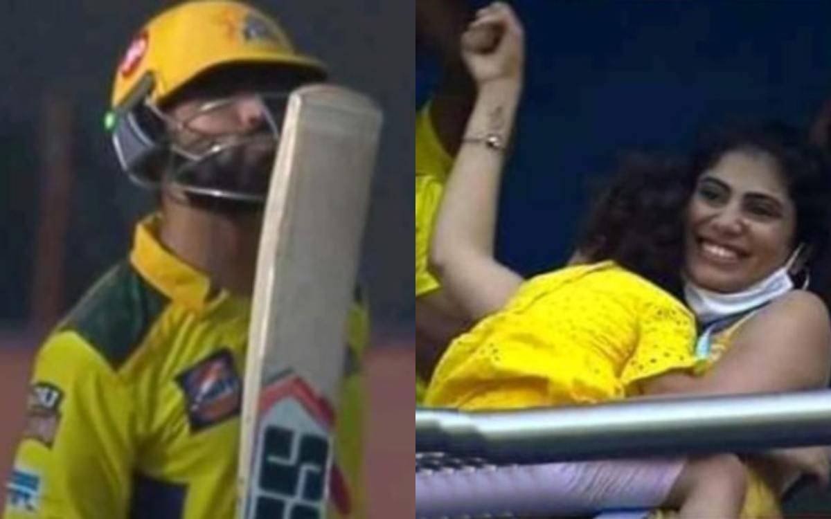 Cricket Image for Ipl 2021 Ravindra Jadeja Wife Riva Solanki And Daughter Cheer Him Watch Video