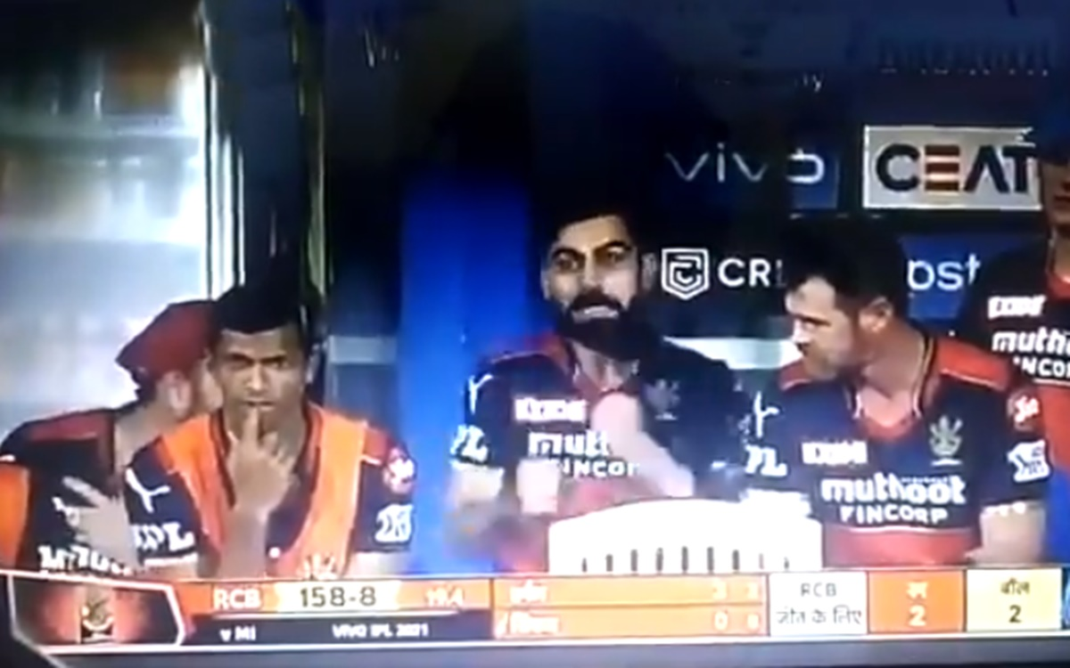 Cricket Image for Ipl 2021 Virat Kohli Reaction After Rcb Need 2 On 2 Watch Video