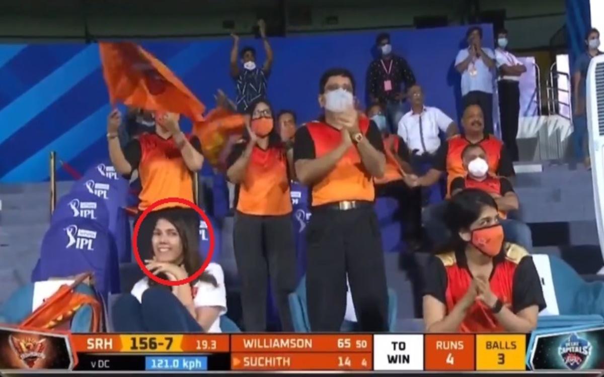 Cricket Image for Ipl 2021 Srh Ceo Kaviya Maran Happy After Suchith Six On Rabada Last Over