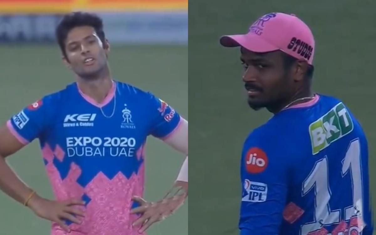 Cricket Image for Mi Vs Rr Ipl 2021 Shivam Dube Death Stare From Captain Sanju Samson