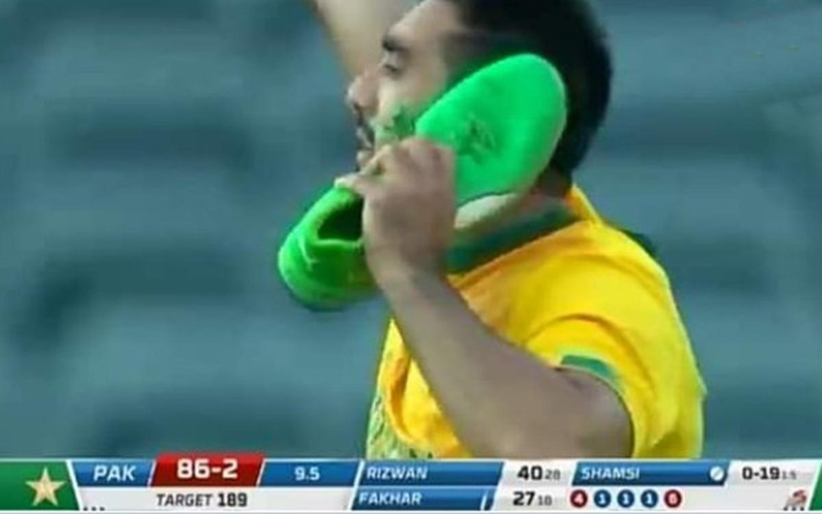 Cricket Image for South Africa Vs Pakistan 1st T20i Tabraiz Shamsi Trolled After Shoe Celebration