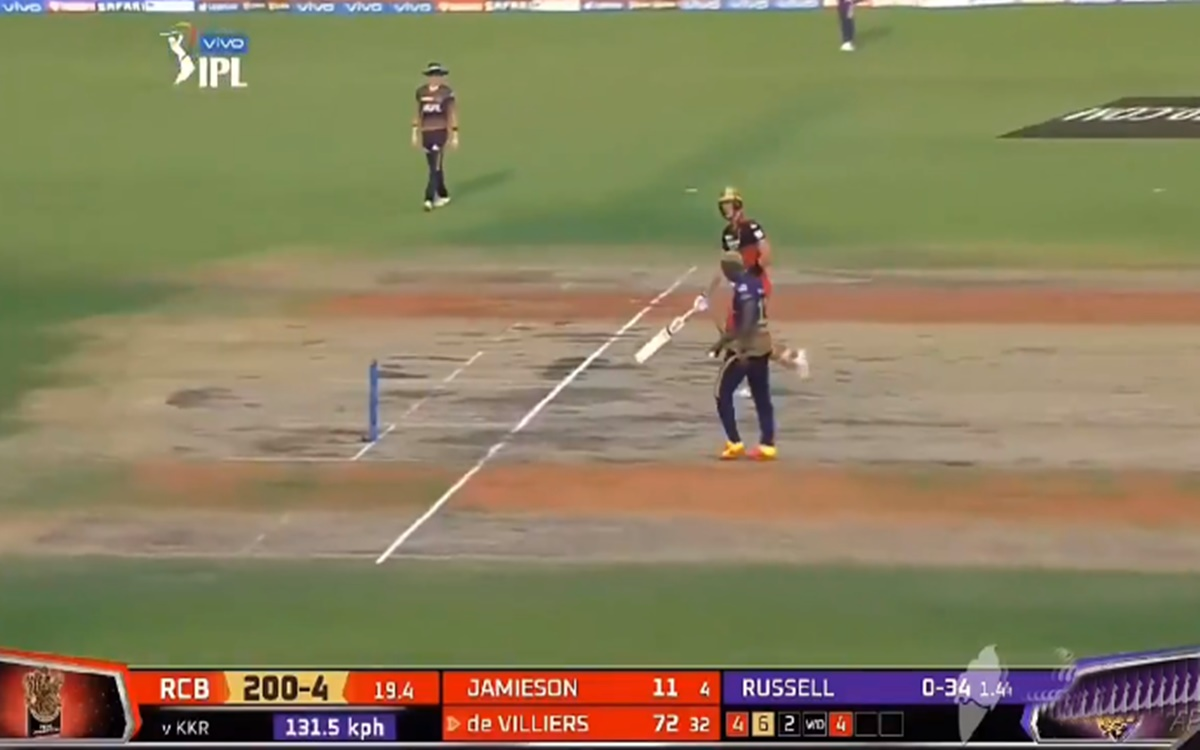 Cricket Image for Ipl 2021 Rcb Vs Kkr Andre Russell Miss Runout Opportunity
