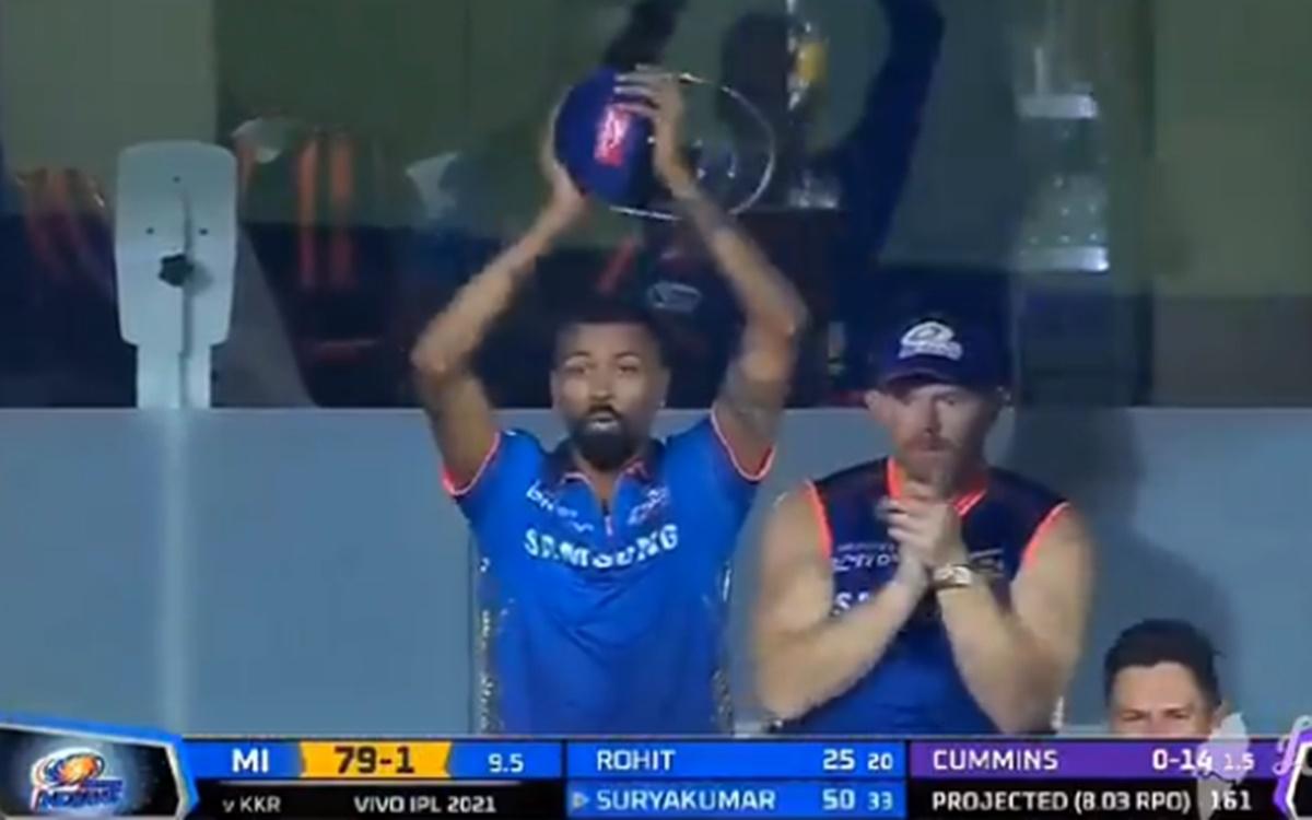 Cricket Image for Ipl 2021 Kkr Vs Mi Hardik Pandya Epic Reaction To Suryakumar Yadav Six Watch Video