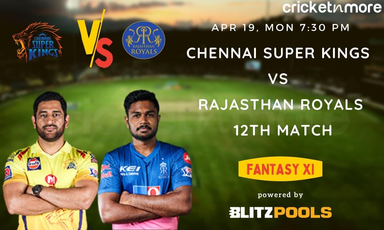 Cricket Image for IPL 2021, Chennai Super Kings vs Rajasthan Royals, 12th Match – Blitzpools Fantasy