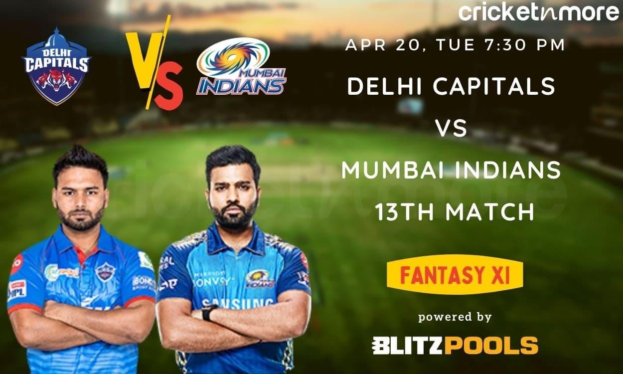 Cricket Image for IPL 2021, Delhi Capitals vs Mumbai Indians, 13th Match – Blitzpools Fantasy XI Tip