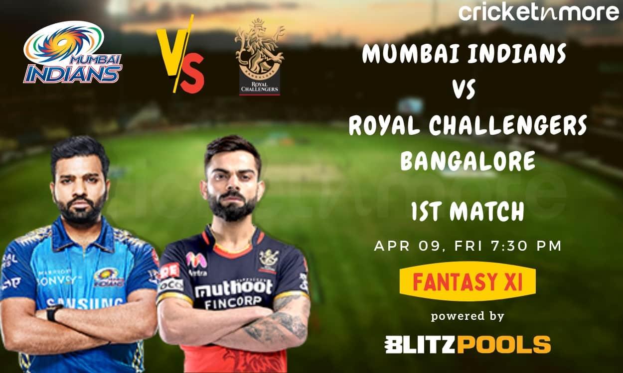 Cricket Image for Mumbai Indians vs Royal Challengers Bangalore, 1st Match – Blitzpools Prediction,