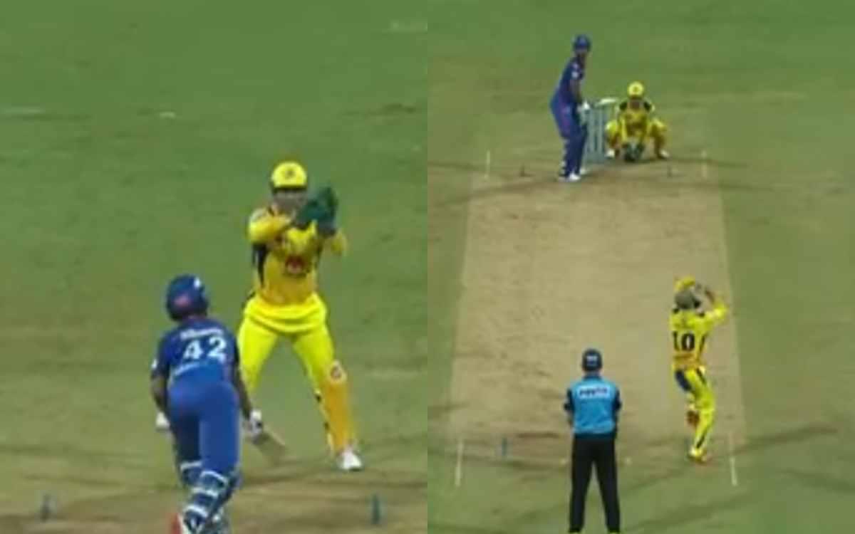 Cricket Image for VIDEO : क्रिकेट के  मैदान पर 'बेसबॉल प्रैक्टिस' करते दिखे मोईन और धोनी, जाल में फं