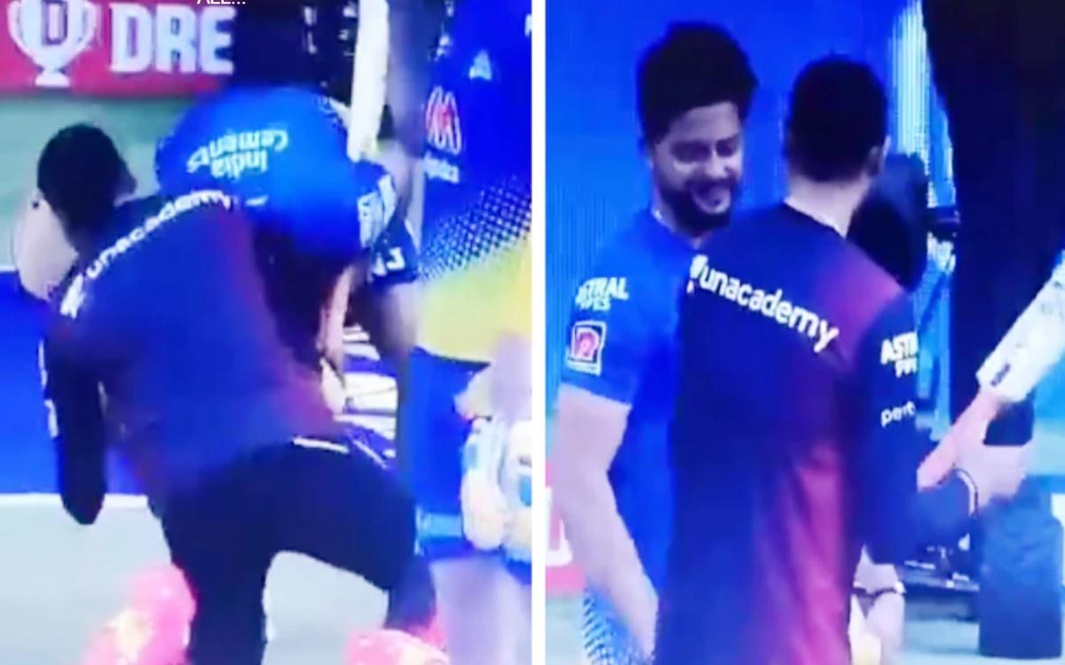 Cricket Image for Ipl 2021 Suresh Raina Touches Harbhajan Singh Feet Watch Video