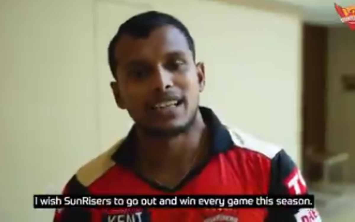 Cricket Image for VIDEO : IPL 2021 से बाहर होने के बाद नटराजन आए सामने, हंसी के पीछे दर्द छुपाता दिख