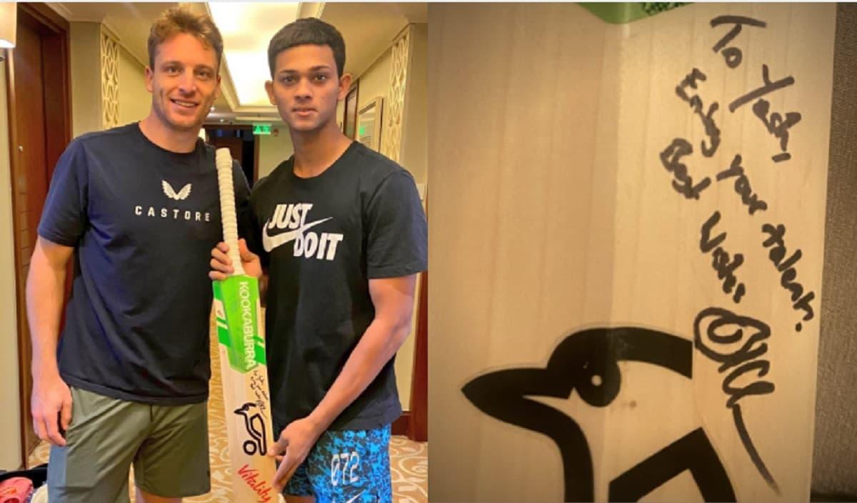 IPL 2021 Jos Buttler gifts his bat to Yashasvi Jaiswal, writes special mesaage
