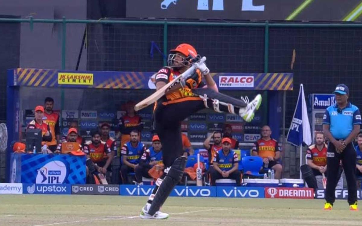 Cricket Image for Ipl 2021 Rr Vs Srh Manish Pandey Strange Shot Watch Video