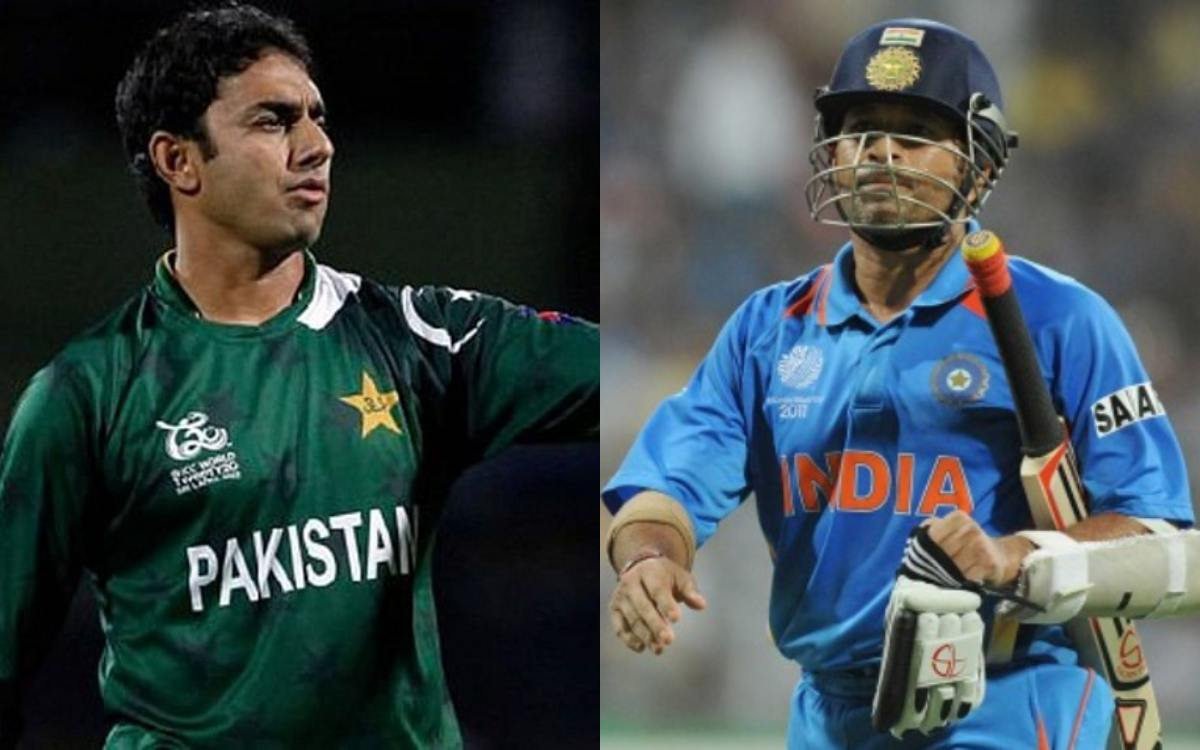 Cricket Image for VIDEO Sachin Tendulkar Stopped Saeed Ajmal For Good Bowling
