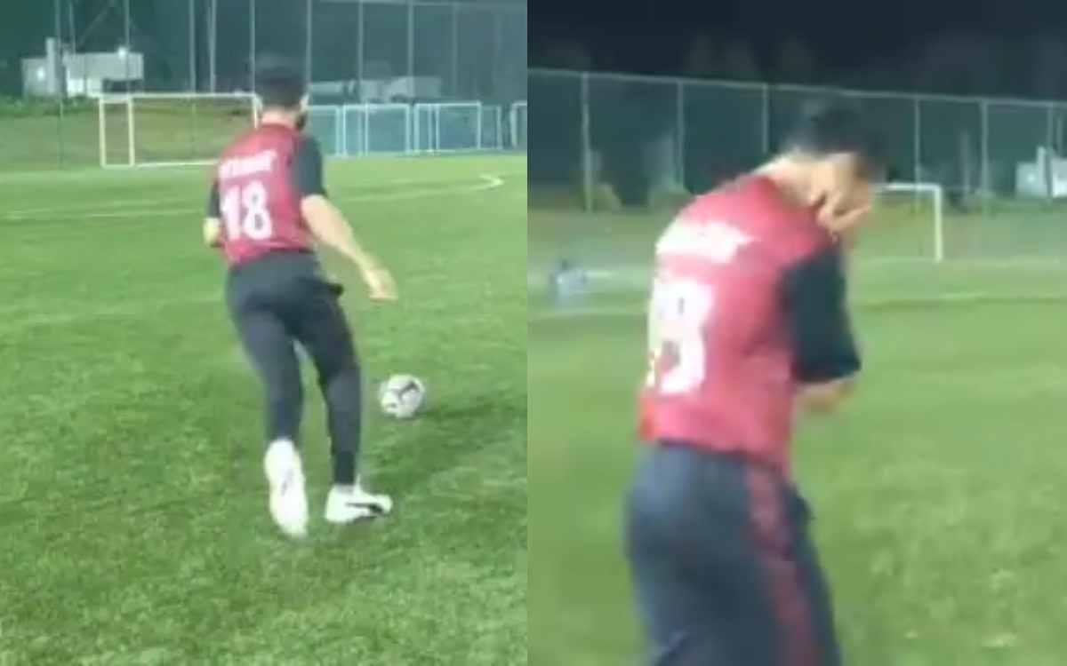 Cricket Image for VIDEO : फुटबॉल के मैदान पर गोल नहीं कर पाए विराट कोहली, फेल होने के बाद रिएक्शन हु